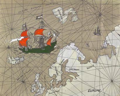 PROJET GOUACHÉ figurant un bateau dans l'Océan...