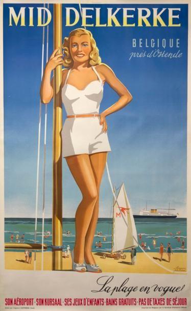 HERMAN VERBAERE - «La plage en vogue» (char...