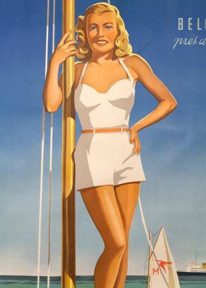 HERMAN VERBAERE - «La plage en vogue» (char à voile et sigle Hispano-Suiza) - Mi...
