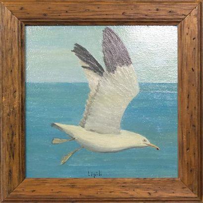 LEPIDI (XX°) : «Albatros» Huile sur bois...