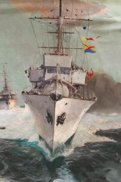 PAGAUNAUD JEAN LOUIS (1876 - 1952) «Navires de guerre et paquebot» Huile sur toile...