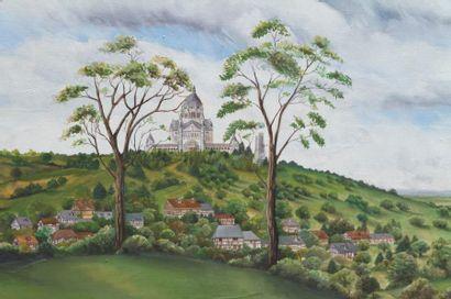 ÉCOLE FRANÇAISE DEBUT XX° ART NAÏF - «Vue de la Basilique de Lisieux et sa campagne...