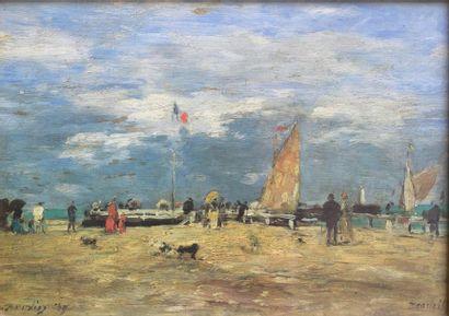 CHROMOLITHOGRAPHIE : «La jetée de Deauville»...
