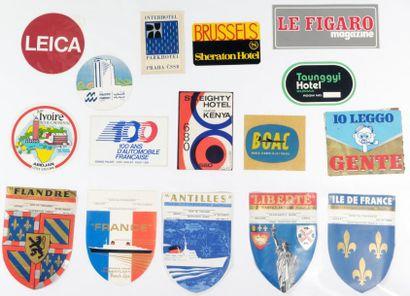 16 ÉTIQUETTES PUBLICITAIRES. Voyages, hôtels...