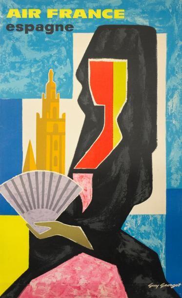 GUY GEORGET 1962 AIR FRANCE ESPAGNE - Imprimerie S.A. Courbet - (98 x 60) - Affiche...