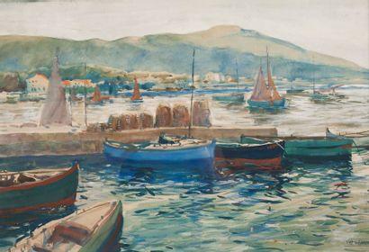 Léon HAFFNER (1881-1972). Barques dans la Rade de Toulon. Aquarelle, signée en bas...