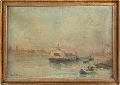 Louis DUMOULIN (1860-1924). Barque sur la rivière. Huile sur toile, signé en bas...