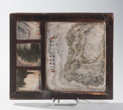 ASIE – CHINE Ecran de lettré en stéatite à décor double face de poèmes calligraphiés....
