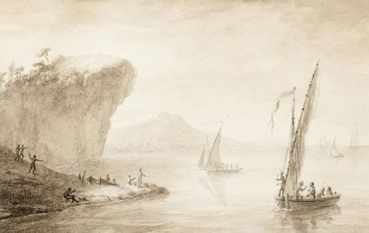 École FRANÇAISE du XVIIIe siècle Pêcheurs près d'une côte Lavis gris sur trait à...