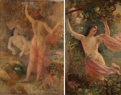 Henry PERRAULT (1867-1932) Rêverie parmi les fleurs Jeune femme cueillant des fruits...