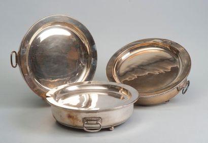 Série de trois chauffe-plat à eau en métal...