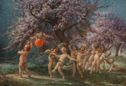 Eugène DEUILLY (1860-1933) Nuit de printemps Huile sur toile. Signée en bas à droite....
