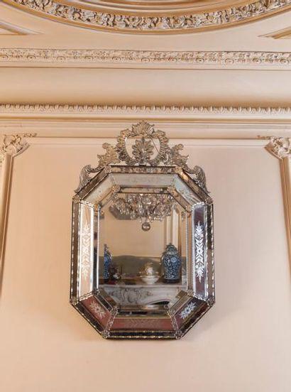 Miroir vénitien de forme octogonale en verre...