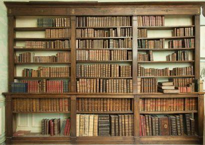 Bibliothèque ouverte deux corps en acajou...
