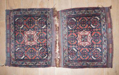 Paire de petit tapis persan Chiraz-Gasghaï,...
