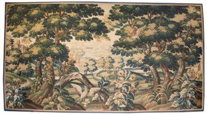Grand fragment de tapisserie d'Aubusson Deux...