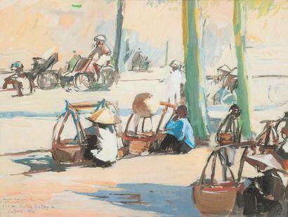 Lucien Victor DELPY (1898-1967) Rue ensoleillée à Saïgon Aquarelle et gouache. Signée,...