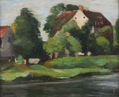 Charles KVAPIL (1884-1957) Village en bord de rivière, 1933 Huile sur toile. Signée...