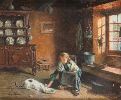 Albert SORKAU (1874-1951) Intérieur Bressan Pastel. Signé en bas à gauche 38 x 46...
