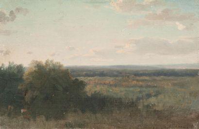 Louis CABAT (1812-1893) Clairière Huile sur toile marouflée sur panneau. Signée en...