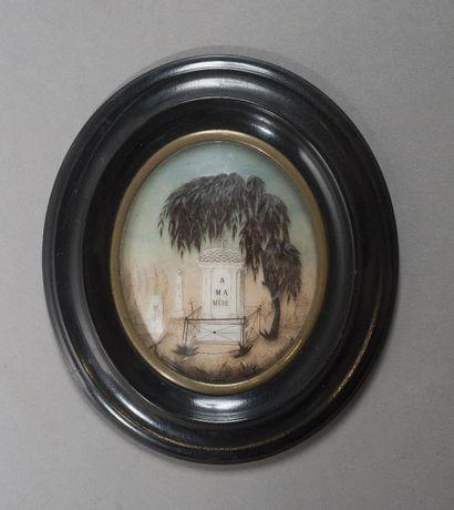 Composition en cheveux représentant un saule...