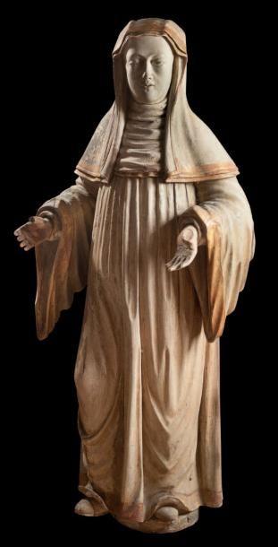 Mère abbesse. Statue d'applique en bois de...