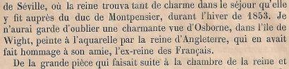 Victoria, reine d'Angleterre, 1850    Château royal d'Osborne    Aquarelle avec...