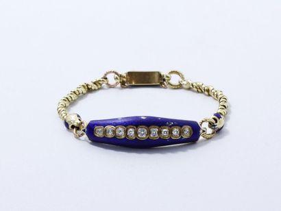 Bracelet en or 750 millièmes et émail bleu...