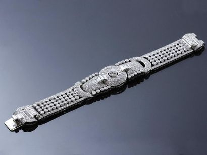 Elégant bracelet ruban en platine 850 millièmes,...