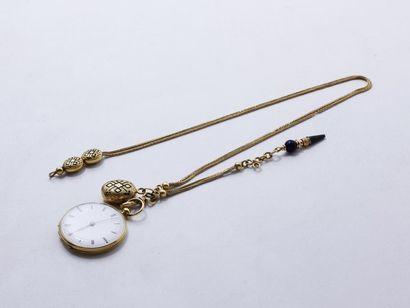 Montre de poche en or 750 millièmes, cadran blanc émaillé avec chiffres romains...