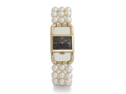 JAEGER LECOULTRE ''ETRIER'' Montre bracelet de dame en or 750 millièmes, cadran...