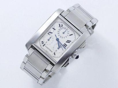 CARTIER ''TANK FRANCAISE CHRONOREFLEX'' Montre chronographe en acier, cadran ivoire...