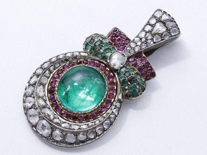 Rare pendentif en argent 800 millièmes décoré...