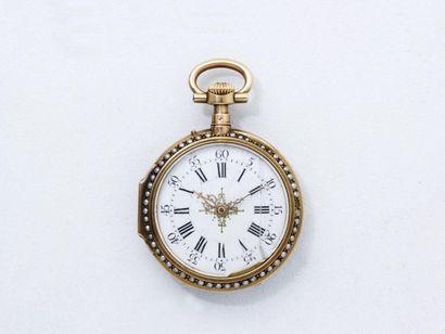 Petite montre de poche en or 750 millièmes,...