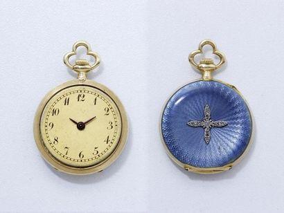 Délicate montre de col en or 750 millièmes,...