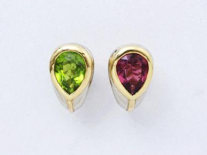 Paire de clips d'oreilles 2 ors 750 millièmes, ornés de tourmaline rose et verte...