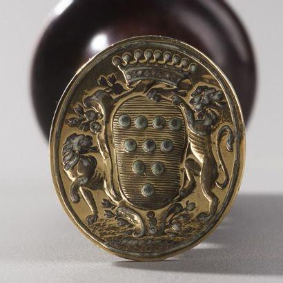 France, XVIIIe siècle  Sceau aux armoiries de Louis François de RIEUX d'ASSERAC,...