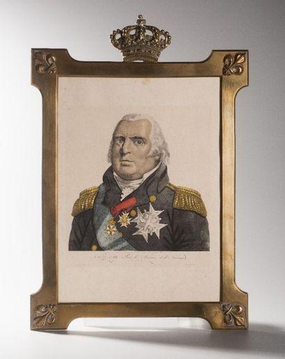 France, circa 1820  Cadre en bronze fleurdelysé...