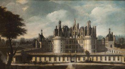Ecole française, circa 1816-1820.  Rare vue du château de Chambord  figurant l'arrivée...