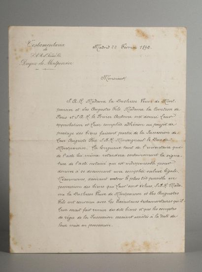 Madrid, circa 1892  Succession du duc de Montpensier  Documents datés à Madrid du...
