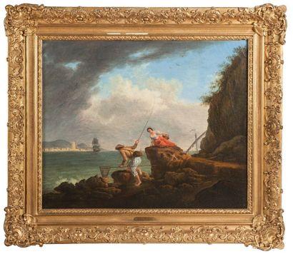Ecole de VERNET – début du XIXème siècle  Le Pécheur  Huile sur toile.  50 x 60...