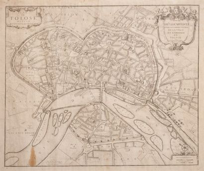 Plan de Toulouse divisé en huit  capitoulats....