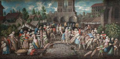 Ecole Française du XVIIIe siècle - Scène de marché - Les artisans Paire de projets...
