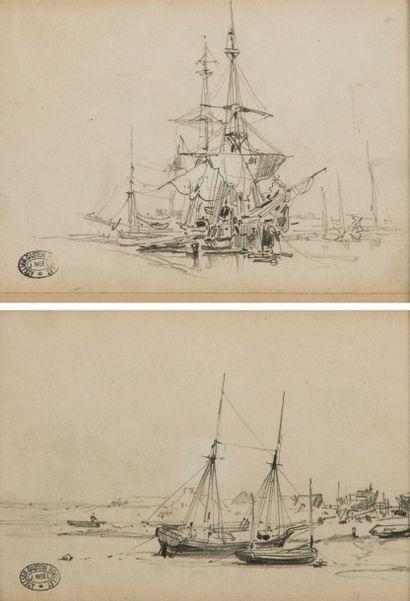 Jules Achille NOËL (1810-1881)  Voiliers...