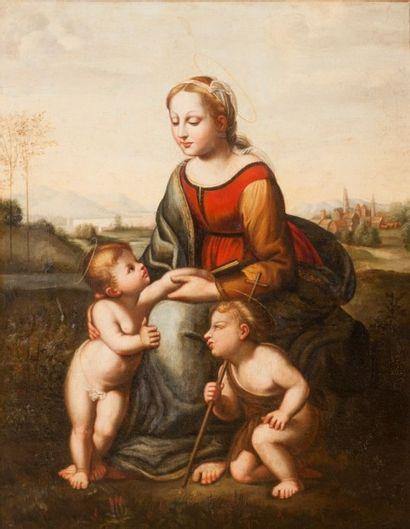 Ecole FRANCAISE d'après Raphaël La Belle Jardinière Huile sur toile. 73 x 60 cm...