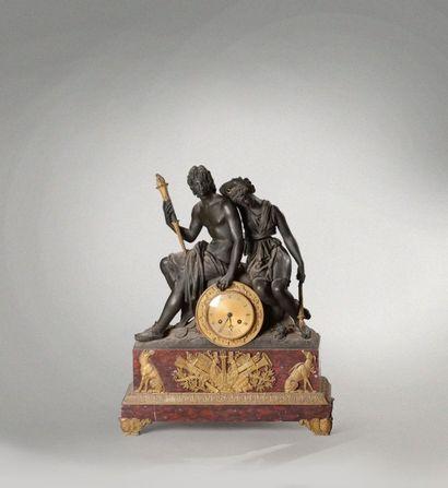 Pendule en marbre griotte et bronze patiné...