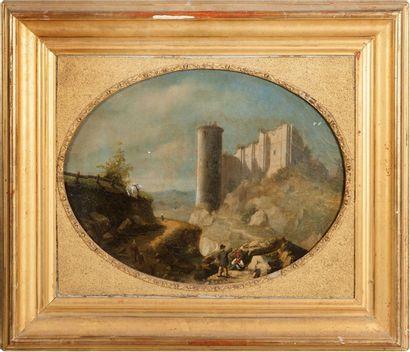 Ecole FRANCAISE, 1851  Voyageurs près d'un...
