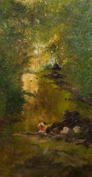 Juan ESPINA Y CAPO (Madrid 1848-1933)  Paysage de rivière  Sur sa toile d'origine...