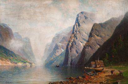 Elisabeth GRUTTEFIEN-KIEKEBUSCH  (active en Norvège au XIXe et au XXe siècle)  Paysage...