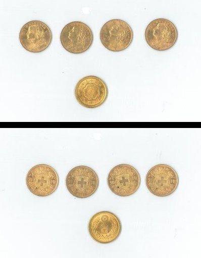 4 pièces 20F suisses or et une pièce étrangère...